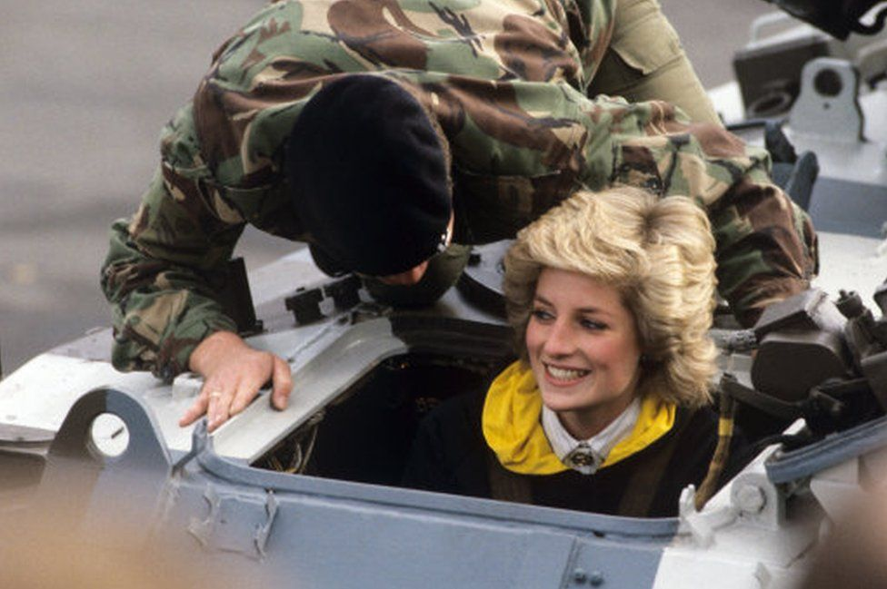British Princess Diana drives in a tank on the occasion of her visit of British troops in West Berlin on the 18th of October in 1985.