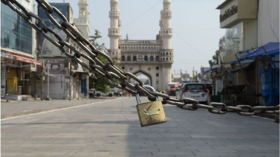 The entrance of the historic monument Charminar is locked during a government-imposed nationwide lockdown