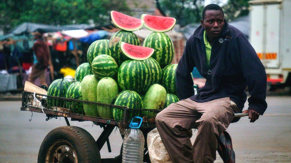 A vendor selling watermelons in Zimbabwe - November 2017