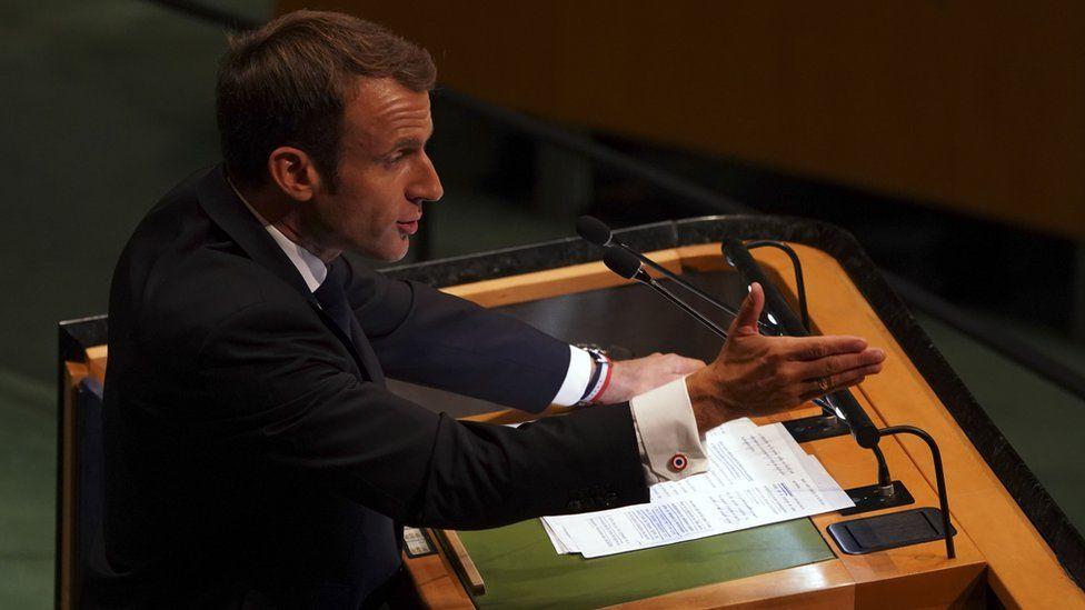 France's President, Emmanuel Macron, at the UN, 25 September
