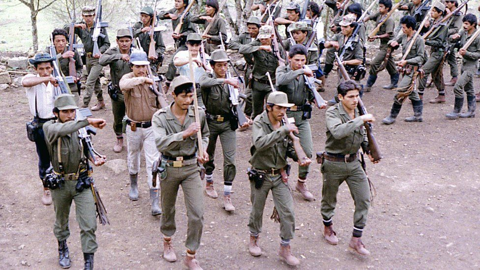 Picture taken in the 80's of Revolutionary Armed Forces of Colombia (FARC) fighters during training at a camp somewhere in the Colombian mountainous region.