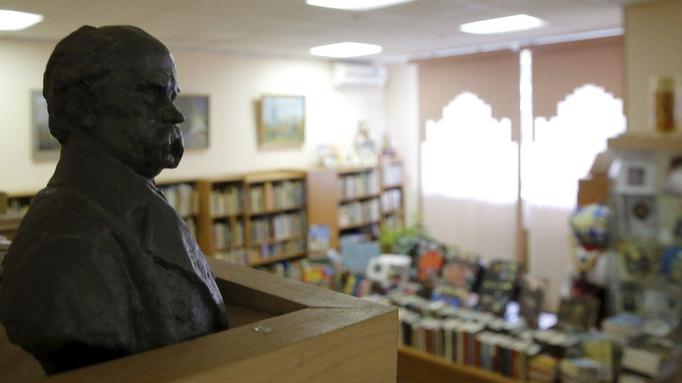 Bust of Ukrainian poet Taras Shevchenko at the Library of Ukrainian Literature in Moscow, Russia. 29 October 2015