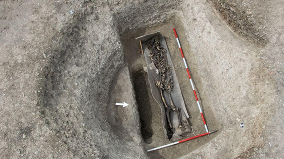 Roman skeleton in lead coffin