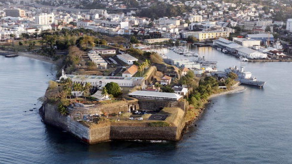 Aerial photo of the city of Fort-de-France in Martinique