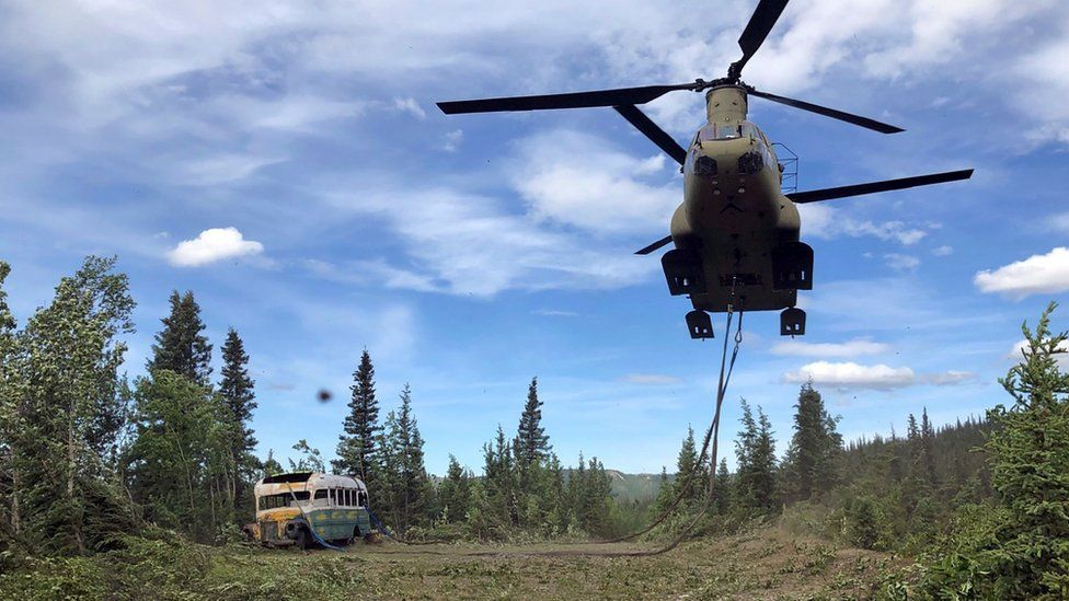 US army Chinook removes the bus