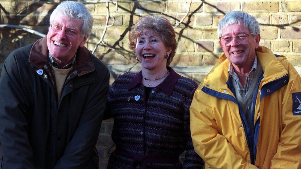 Former Blue Peter presenters (left-right) Peter Purves, Val Singleton and John Noakes in 2000