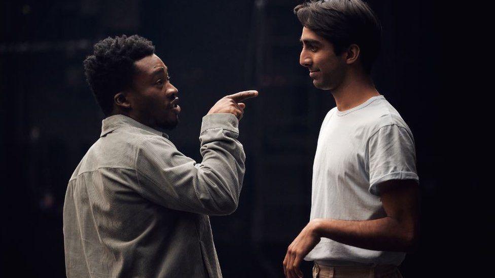Fisayo Akinade as Mercutio and Shubham Saraf as Benvolio