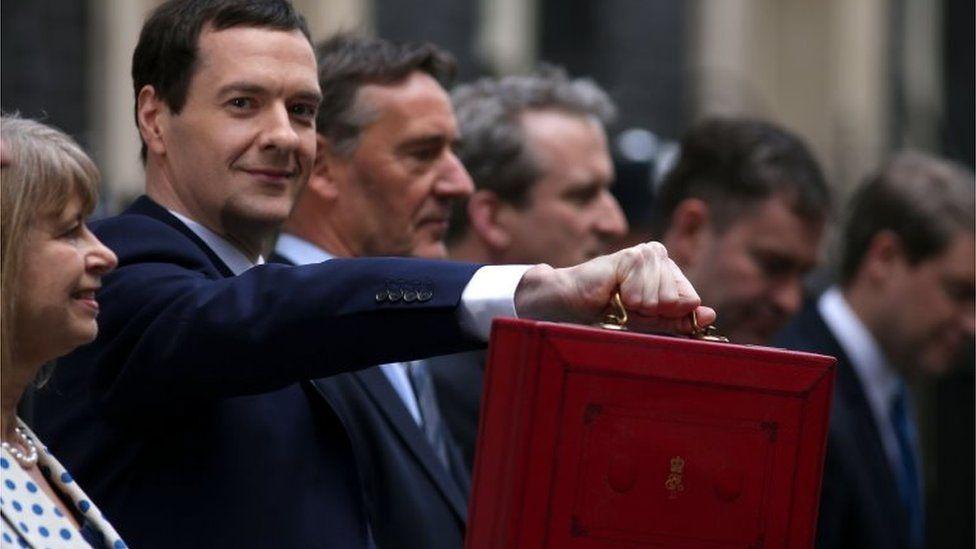 George Osborne holds up the red box alongside his Treasury team