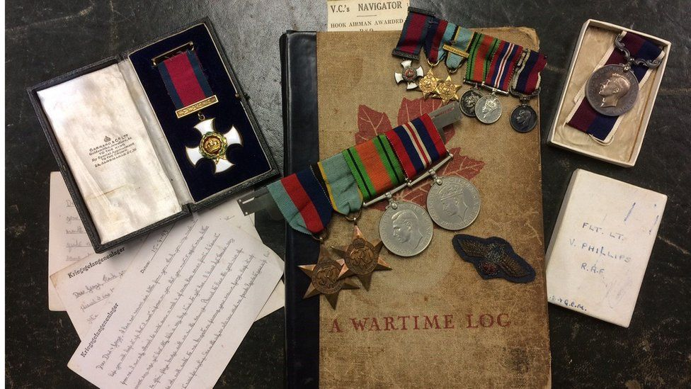 The wartime memorabilia, medals and journal