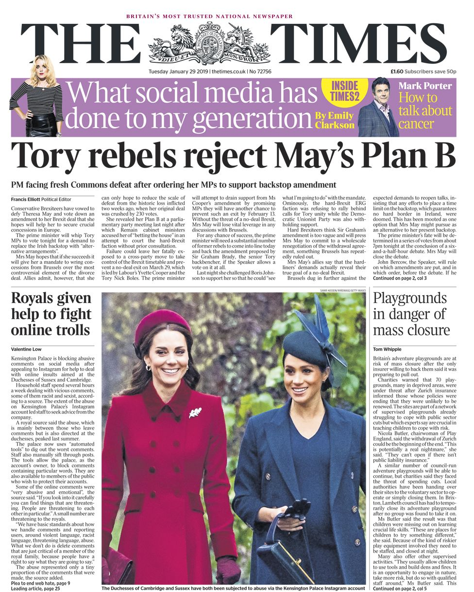 Times front page - 29/01/19