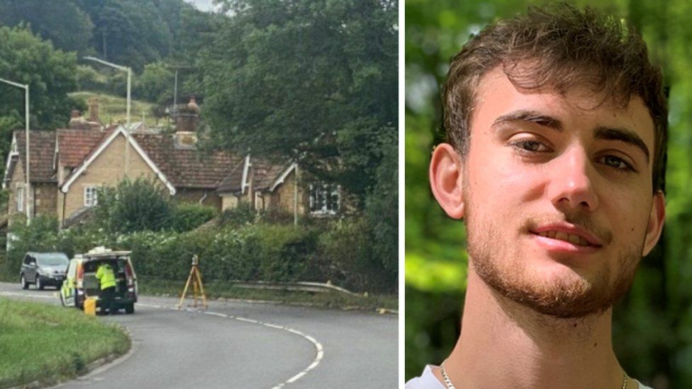 Corey Owen and the scene of the fatal crash on the A4