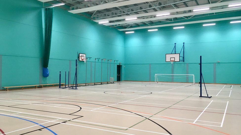 A picture of the new school's sports hall