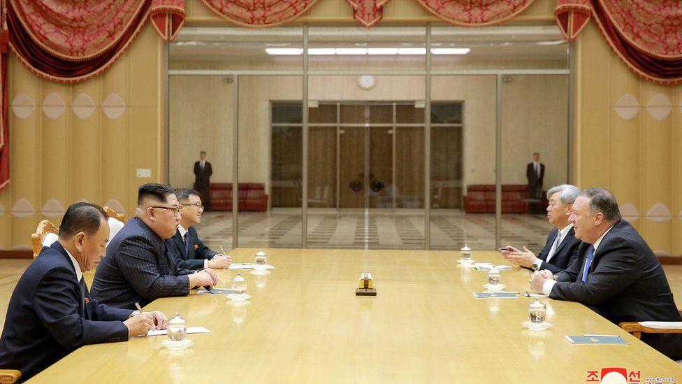 Kim Jong-un and Mike Pompeo
