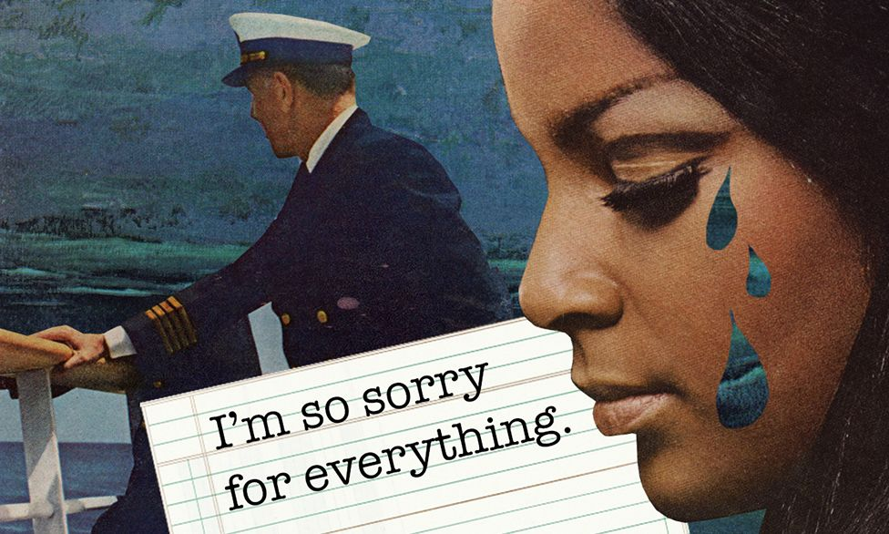 """Illustration showing a man in naval uniform looking out to sea while a woman with tears on her face looks on wistfully, with the text, """"I'm so sorry for everything"""""""