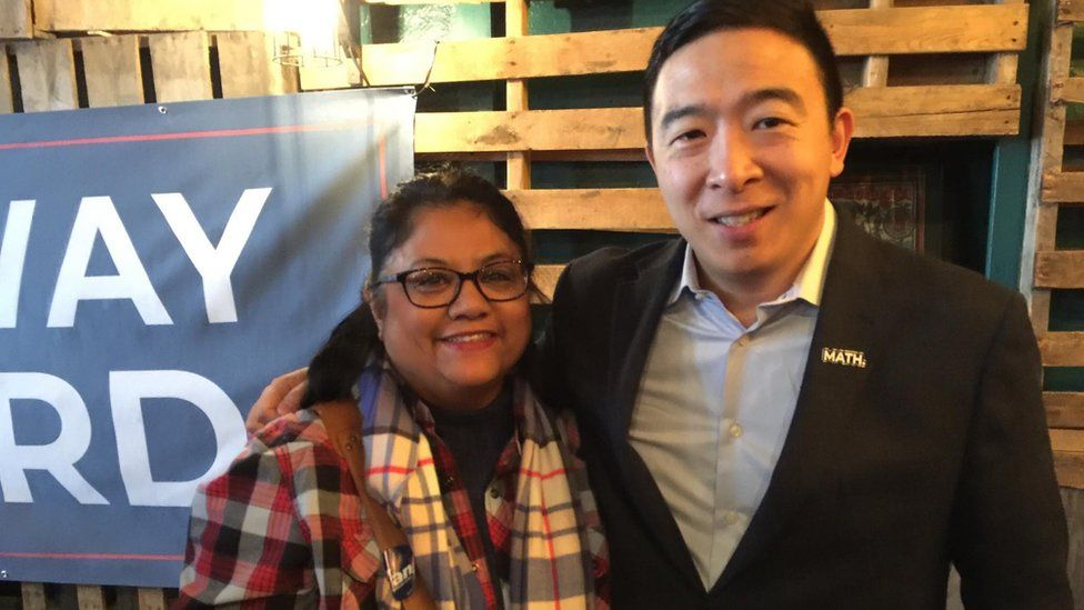 Ann Anhalt and Andrew Yang at a campaign event