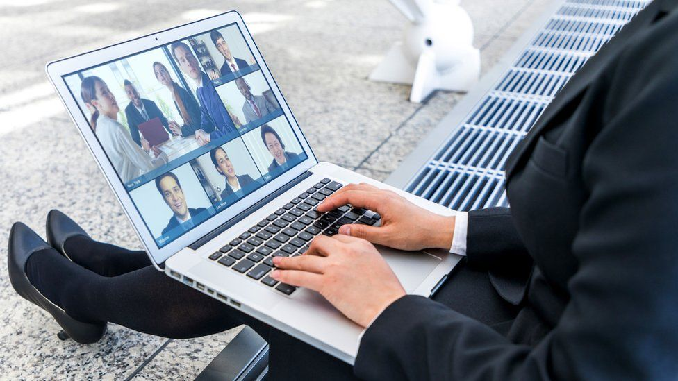Person having a Zoom meeting