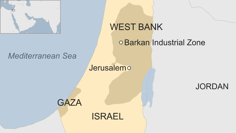 Map of Israel and West Bank showing location of Barkan Industrial Zone