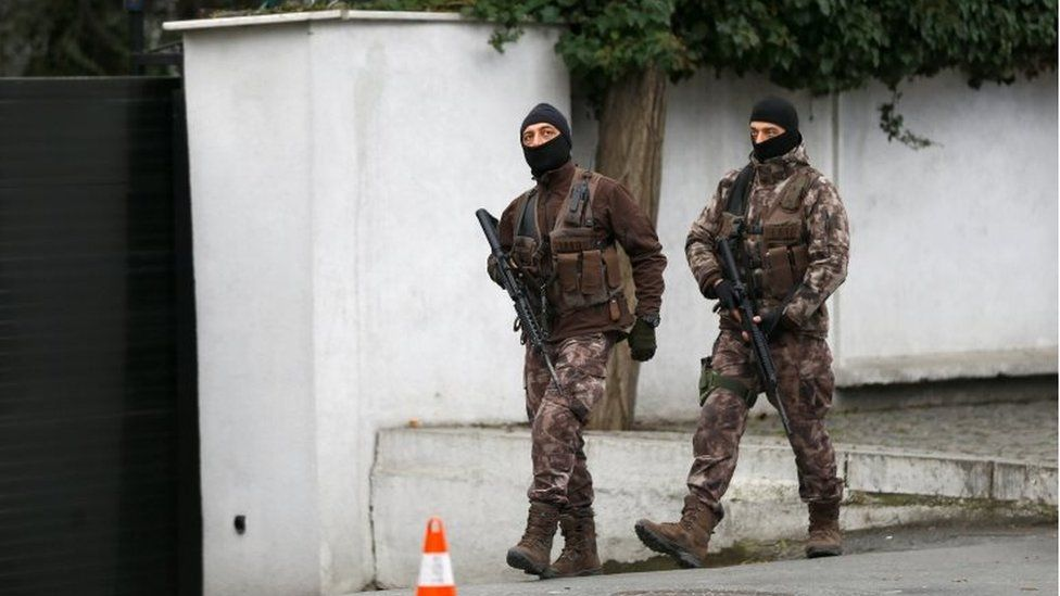 Police special forces patrol outside the Reina nightclub which was attacked by a gunman, in Istanbul, Turkey, on 3 January