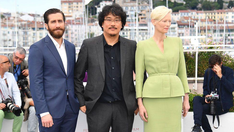 Jake Gyllenhaal, Tilda Swinton and Bong Joon Ho