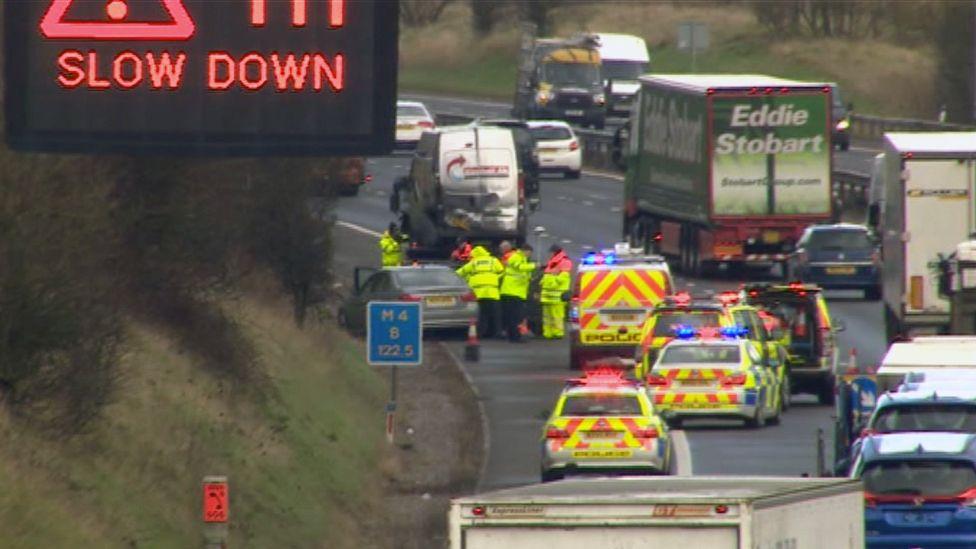 Traffic jam on M4 after crash
