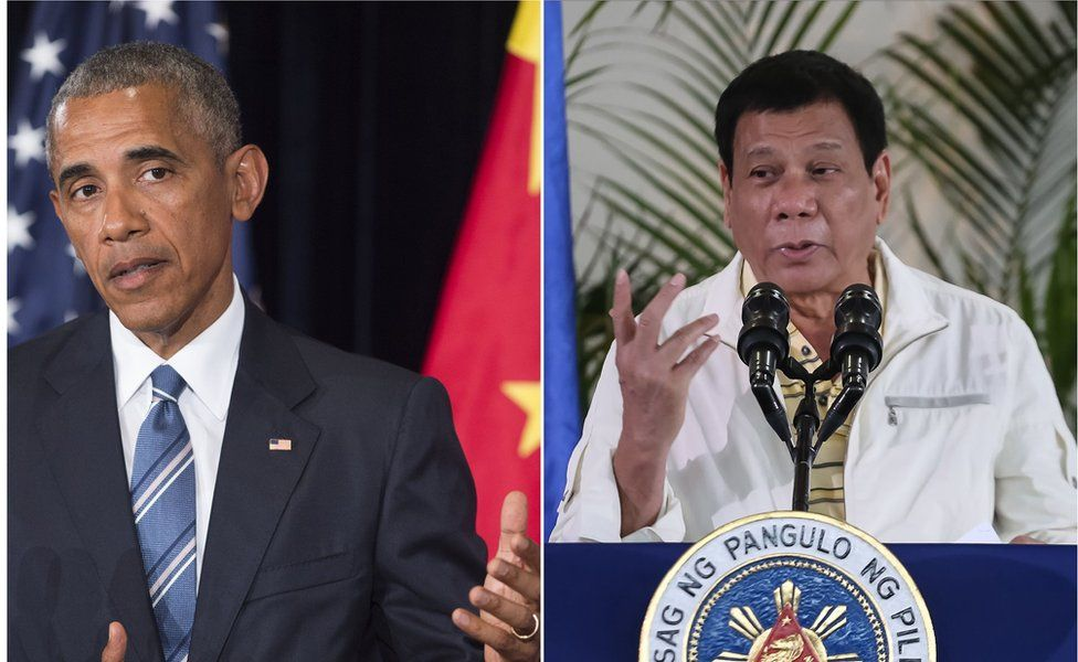 This combination image of two photographs taken on 5 September 2016 shows, at left, US President Barack Obama speaking during a press conference following the conclusion of the G20 summit in Hangzhou, China, and at right, Philippine President Rodrigo Duterte speaking during a press conference in Davao City, the Philippines, prior to his departure for Laos to attend the ASEAN summit.