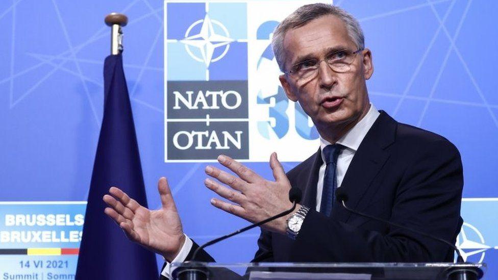 Nato Secretary General Jens Stoltenberg gives a press conference