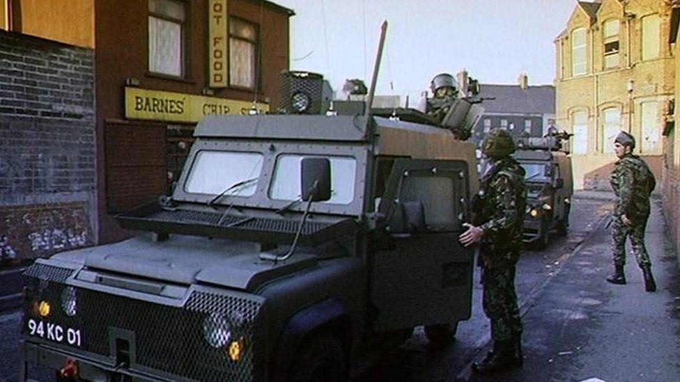 Soldiers in Belfast in 1991