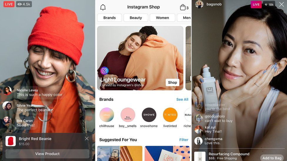 Three phone screens are seen here - Instagram and Facebook live both show influencer-types modelling products (one hat and one face cream) with links to buy them.