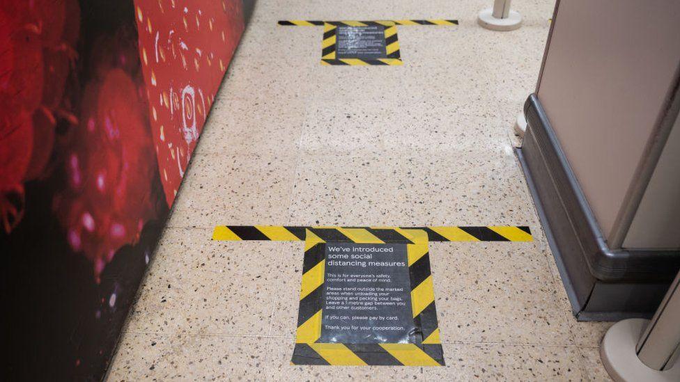 Tesco floor markings