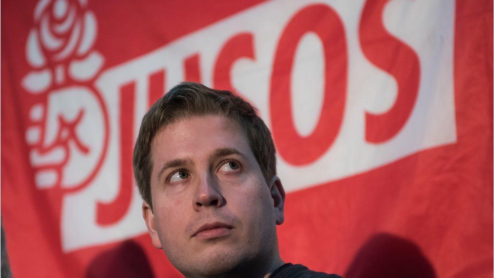 Kevin Kuehnert, head of Jusos, the youth group of the German Social Democrats (SPD), speaks in Leipzig, Germany on February 9, 2018.