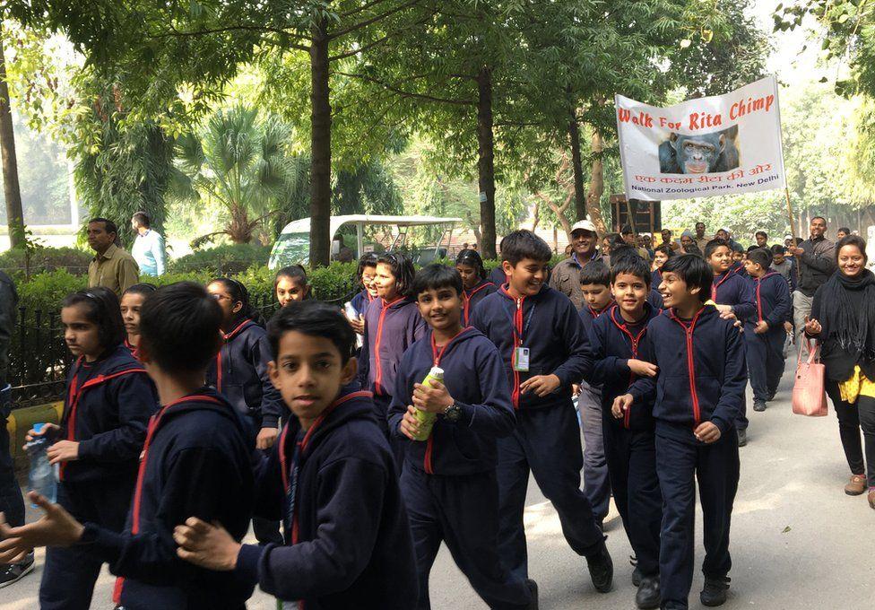 Schoolchildren walk for Rita