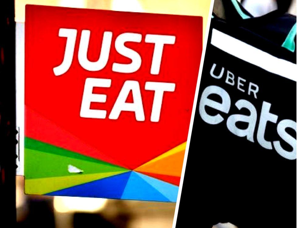 Just Eat and Uber Eats signs