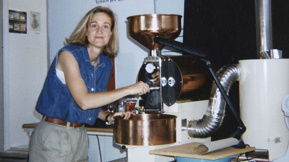 A young Brooke McDonnell roasting beans in the couple's garage