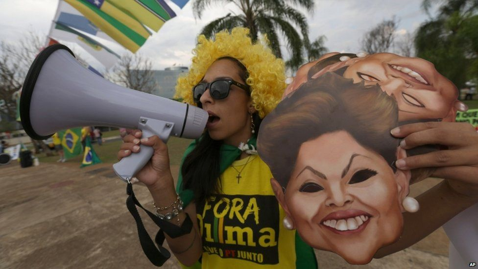Protester outside the Federal Accounts Court in Brasilia