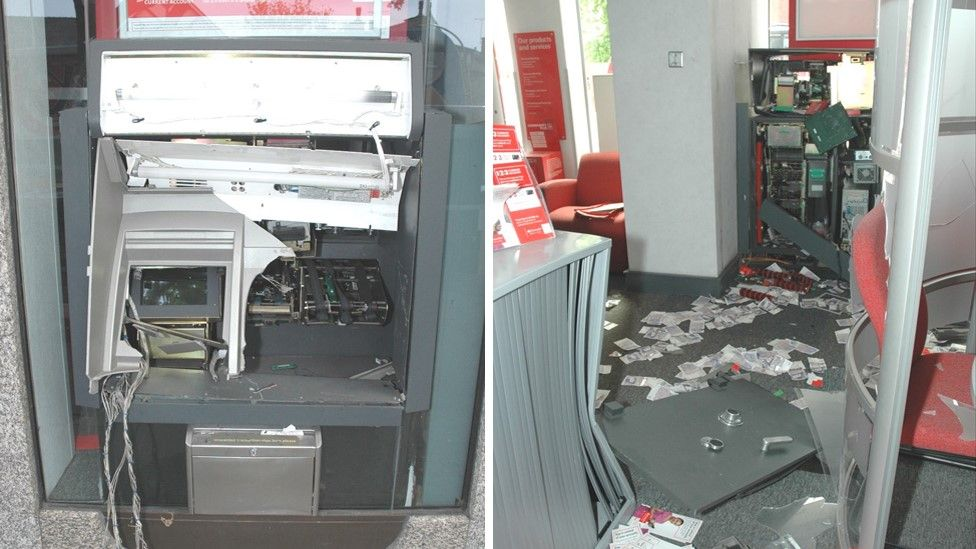 damaged cash machines