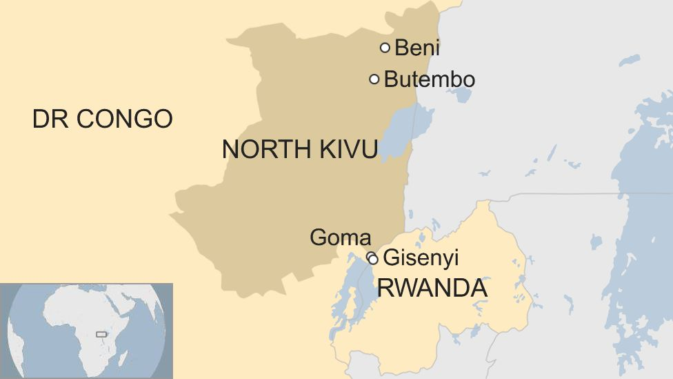 Map of the border area between DR Congo and Rwanda