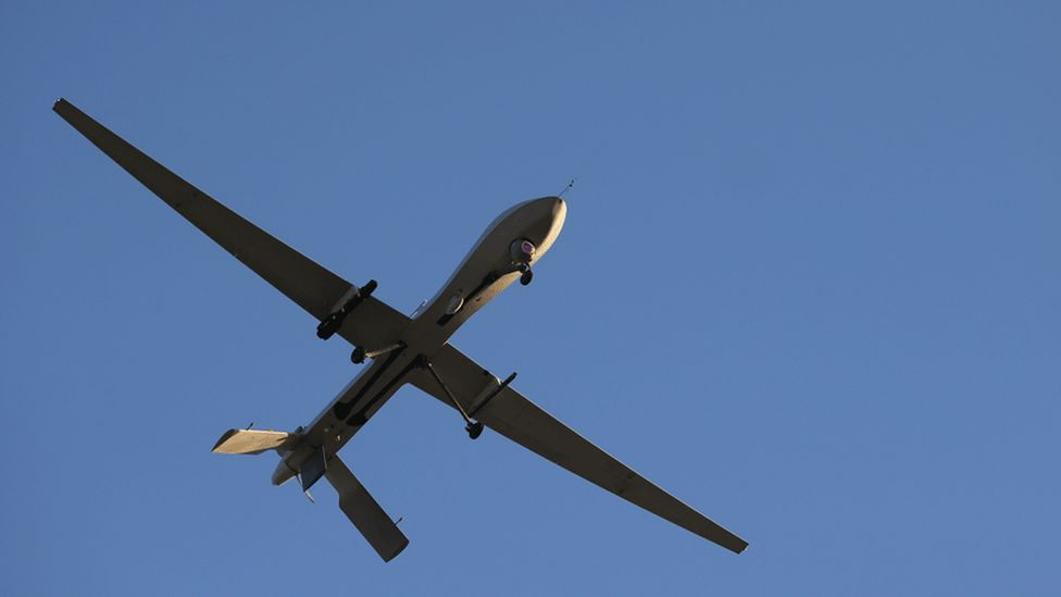 A US predator drone flying on a mission in the Persian Gulf in 2016