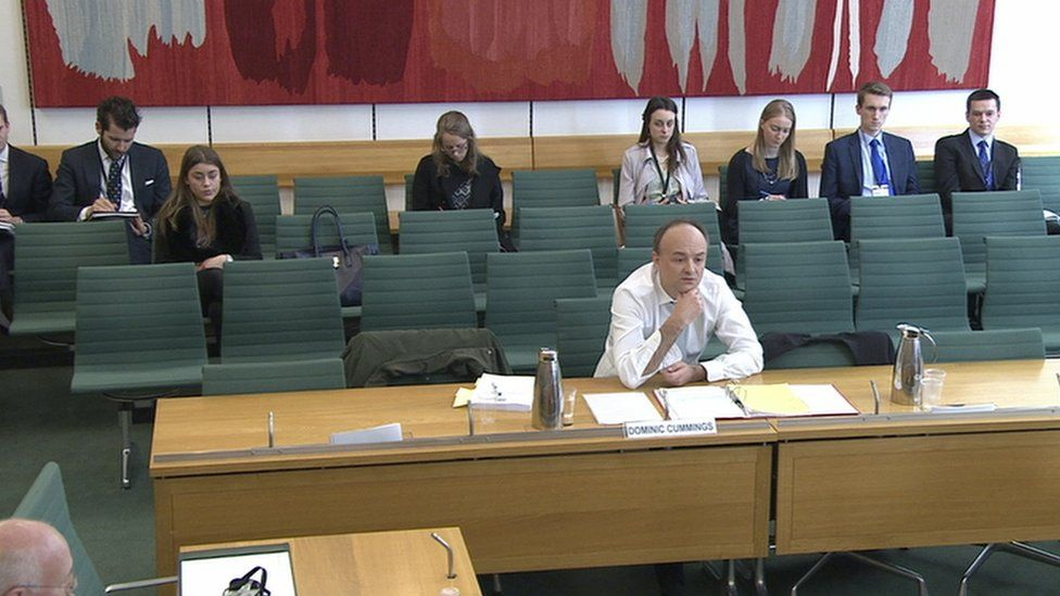 Dominic Cummings giving evidence to the Commons Treasury Committee