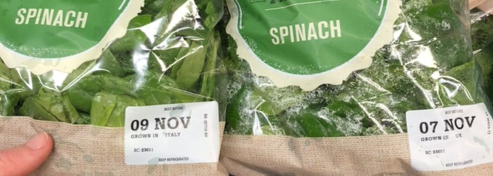 Two bags of spinach