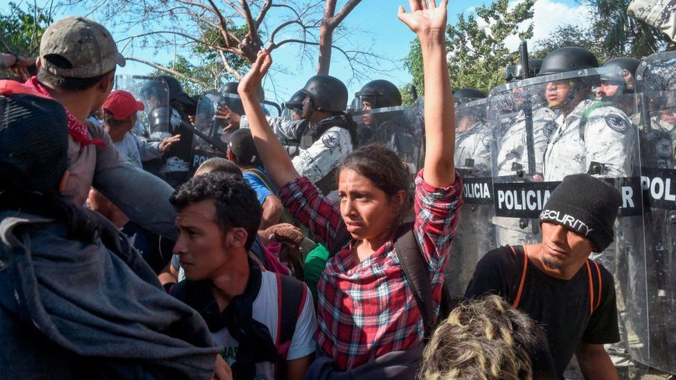 The Mexican National Guard clashed with migrants after forcing them away from the US border