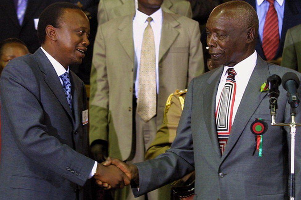 Uhuru Kenyatta and Daniel Moi