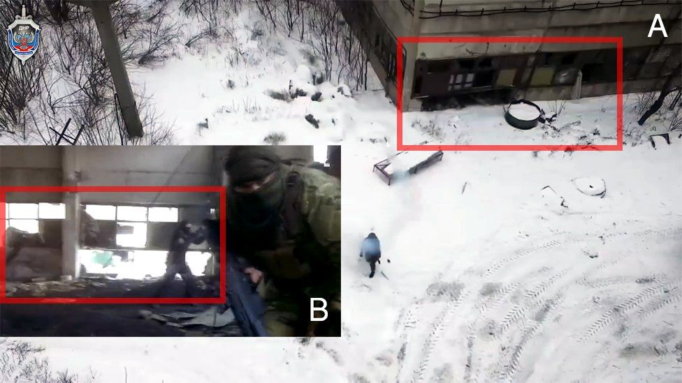 """A shot from a promotional video from the """"Ministry of State Security"""" for the """"Donetsk People's Republic"""" and a shot from a Cyberberkut video which claims that ISIS fighters are allegedly serving in the Ukrainian National Guard"""