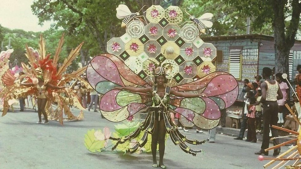 An elaborate bee-themed costume on parade in 1975