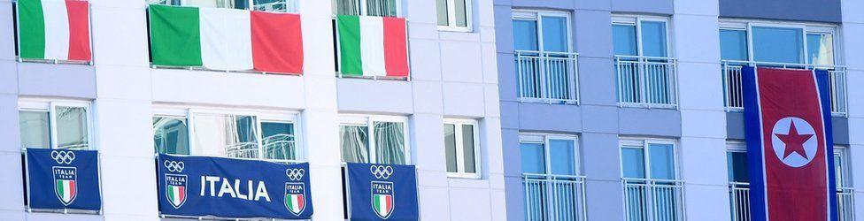 Italian and North Korean flags
