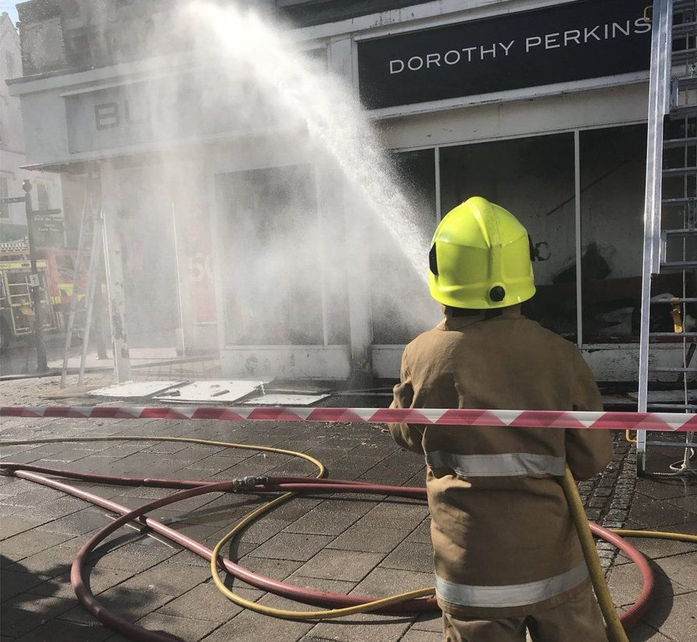 Firefighters at Dorothy Perkins in Dumfries