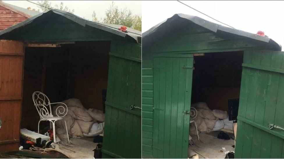 Two images of the shed with dirty bedding and a chair inside