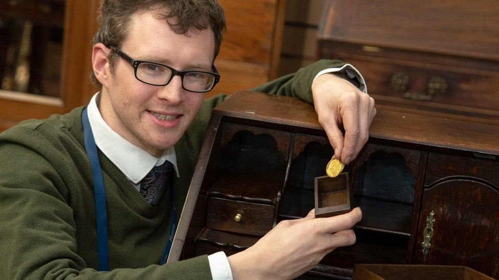 Furniture valuer Edward Rycroft found the coin in a 20th Century George II-style drawer