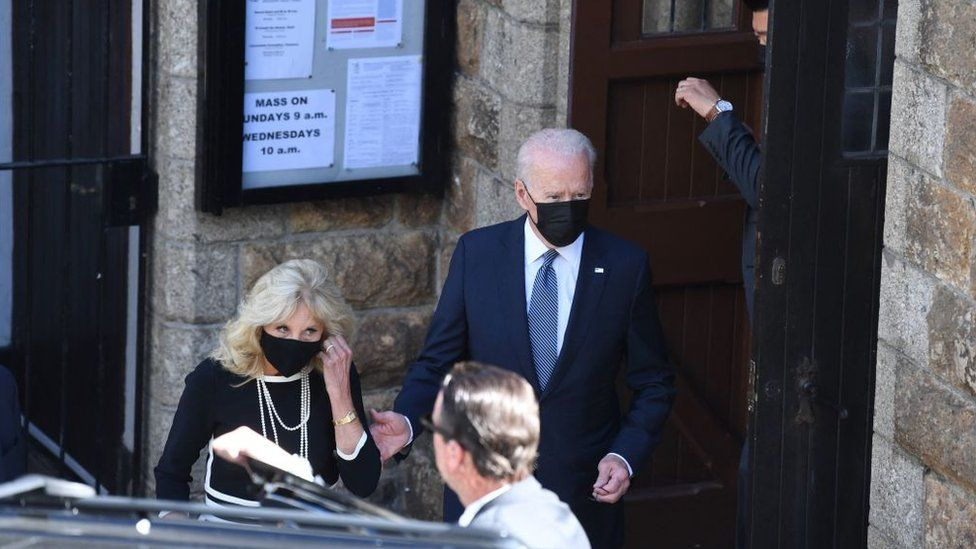 US President Joe Biden and First Lady Jill Biden at the Sacred Heart and St Ia Catholic Church in St Ives