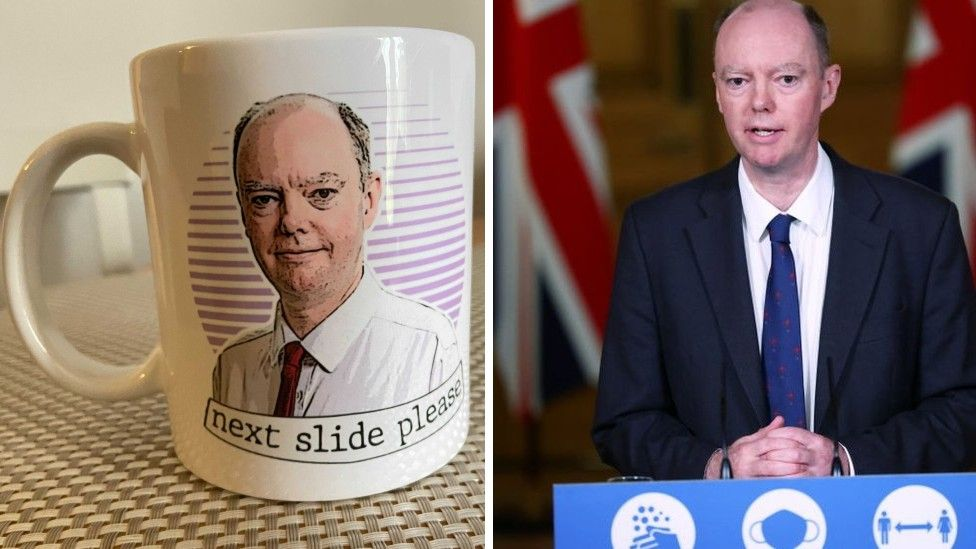 Chris Whitty in mug form and in real life