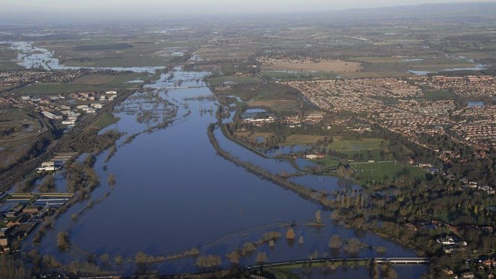 aerial photograph of flooding in the Clifton suburb of York in northern England